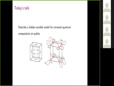 A hidden variable model for universal quantum computation with magic states on qubits